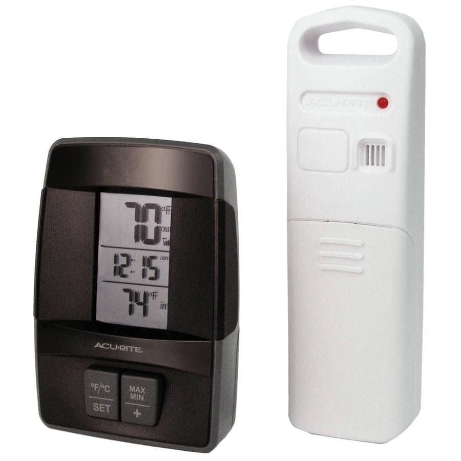 AcuRite Digital Wireless Indoor/Outdoor Black Thermometer with Clock
