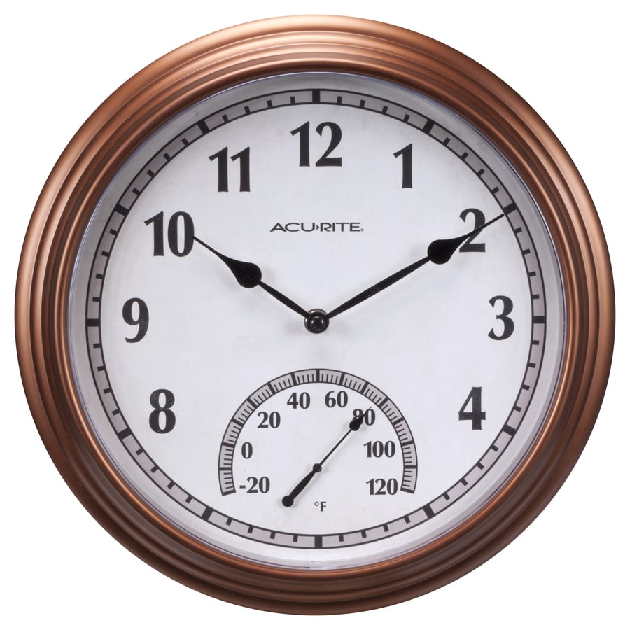 AcuRite Indoor/Outdoor Bronze Traditional Thermometer with Clock