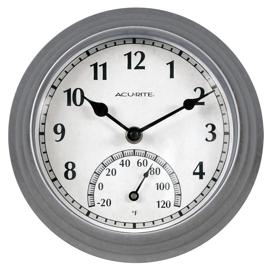 AcuRite Wireless Indoor/Outdoor Silver Thermometer with Clock