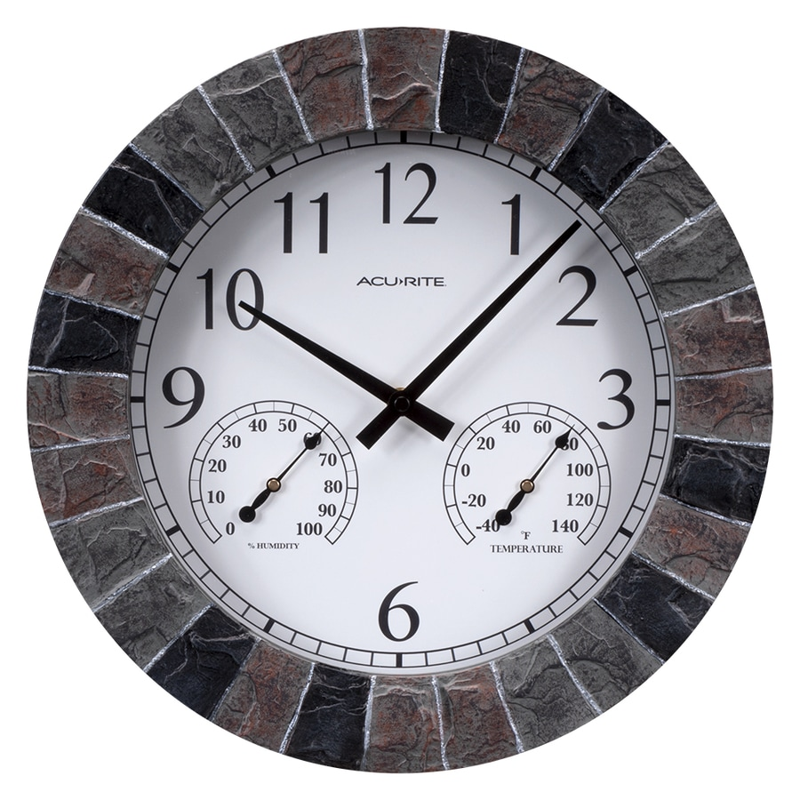 Shop Acurite Indoor Outdoor Faux Slate Clock At Lowes Com