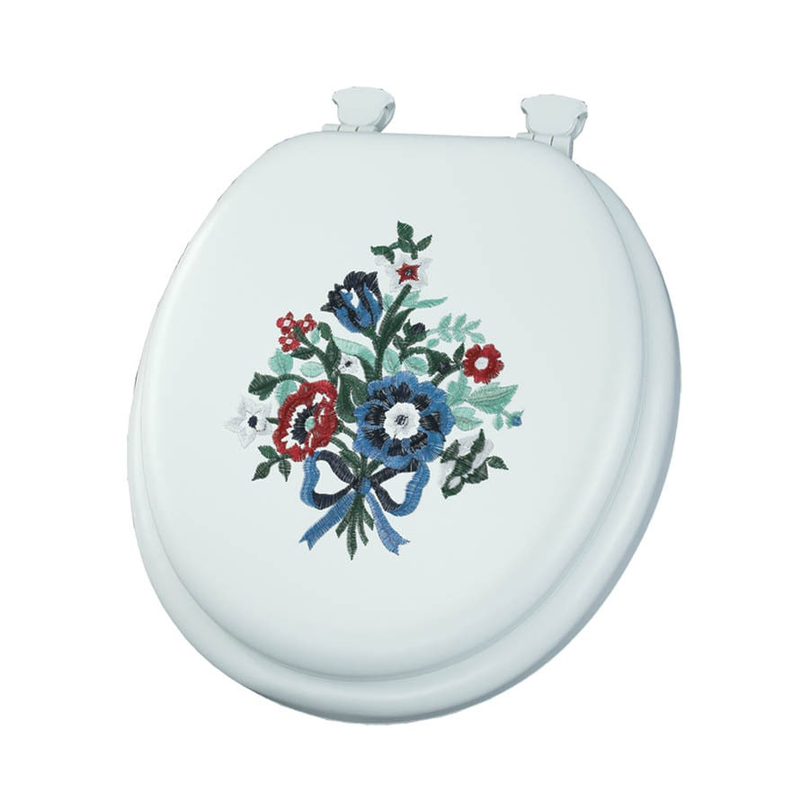 Mayfair Embroidered Bouquet Lift-Off Cushioned Vinyl Toilet Seat