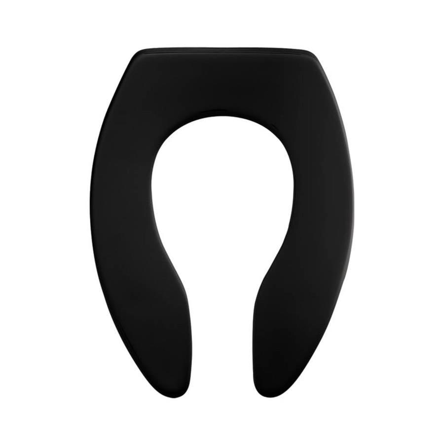 Church Commercial Black Plastic Elongated Toilet Seat