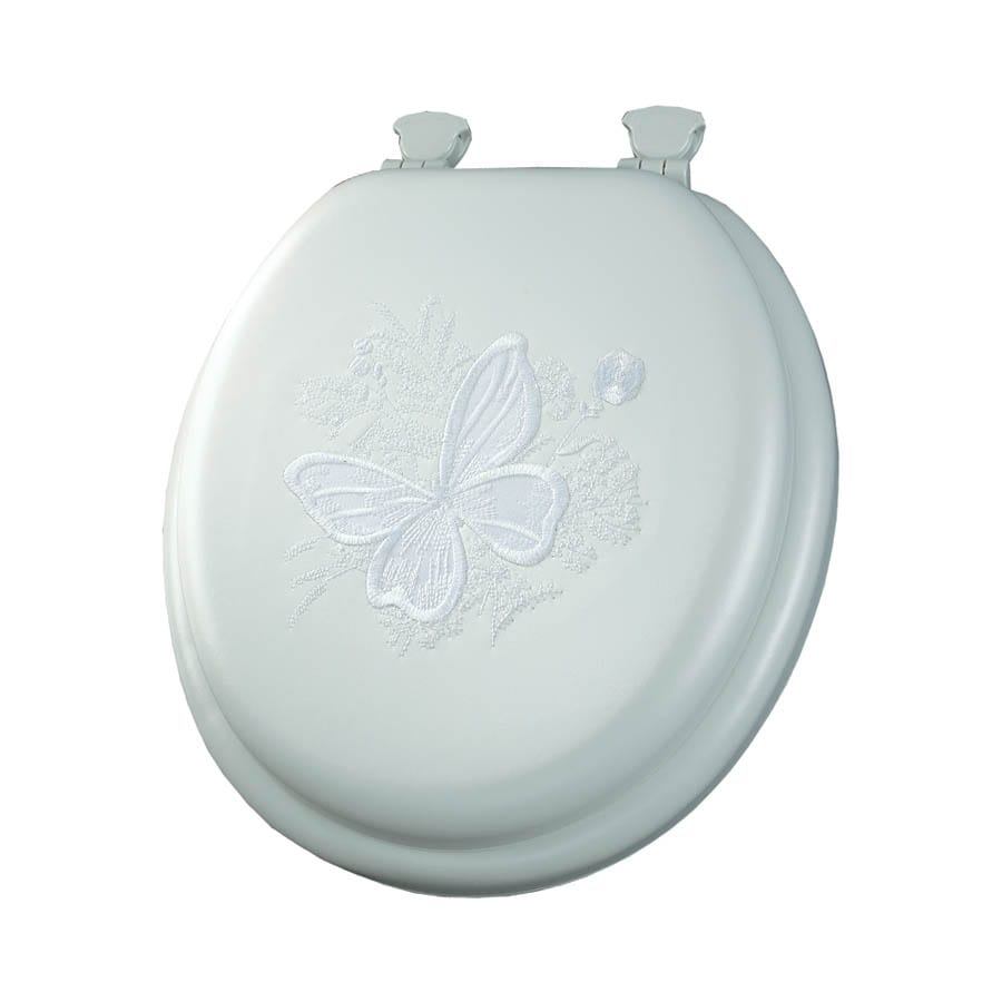 Mayfair Embroidered Butterfly Lift-Off Cushioned Vinyl Toilet Seat
