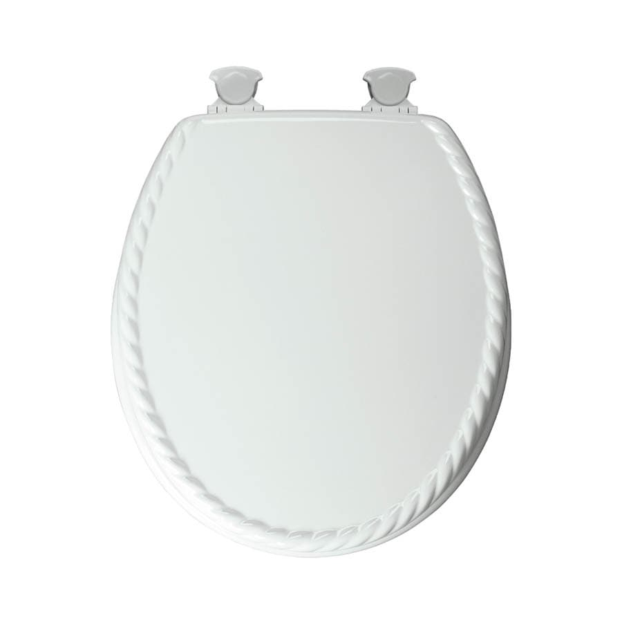 Mayfair Sculptured Rope Lift-Off White Wood Round Toilet Seat