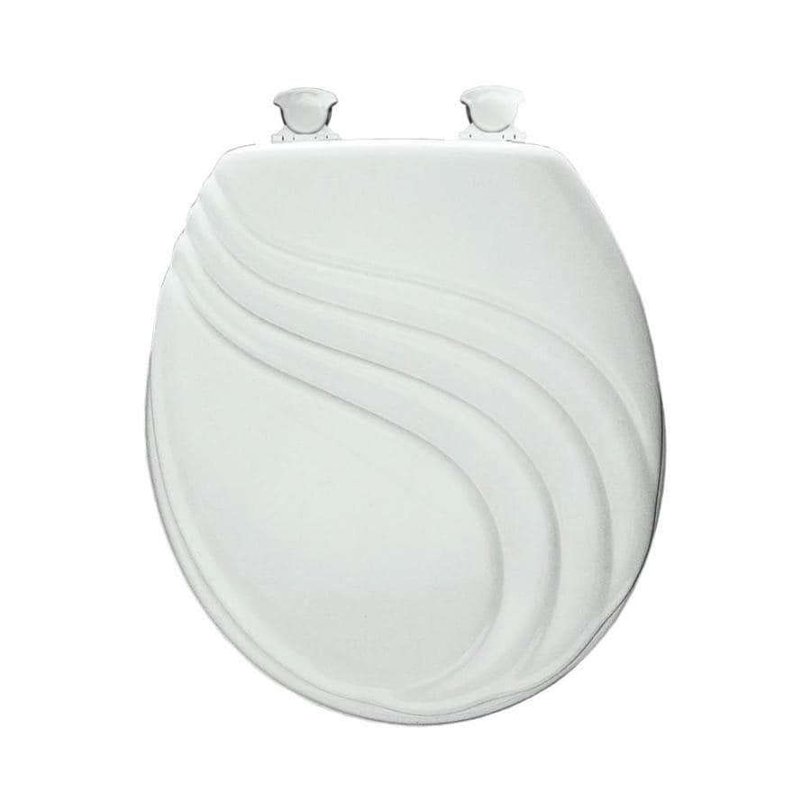 Mayfair Sculptured Swirl Lift-Off White Wood Round Toilet Seat