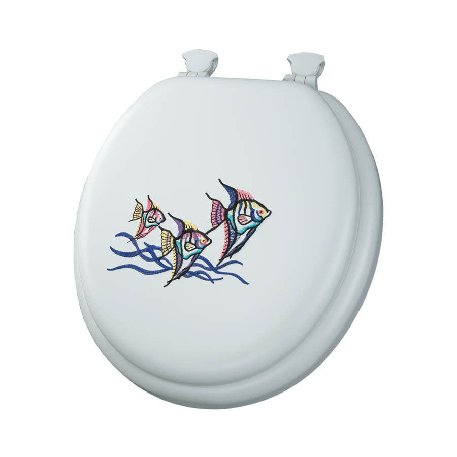 Mayfair Embroidered Tropical Fish Lift-Off Cushioned Vinyl Toilet Seat