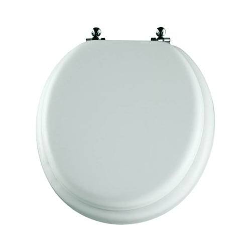Mayfair White Cushioned Vinyl Round Toilet Seat At Lowes Com