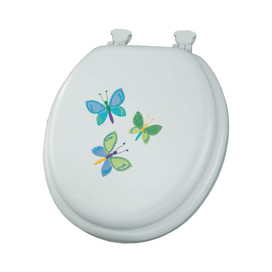 Mayfair Embroidered Butterfly Trio Lift-Off Cushioned Vinyl Toilet Seat