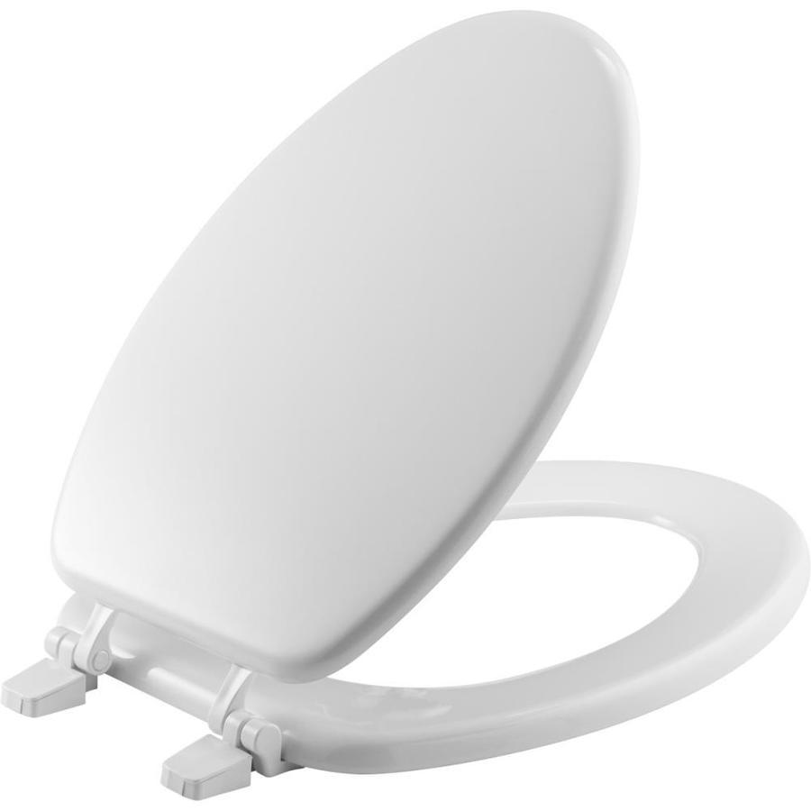 Bemis White Wood Elongated Toilet Seat