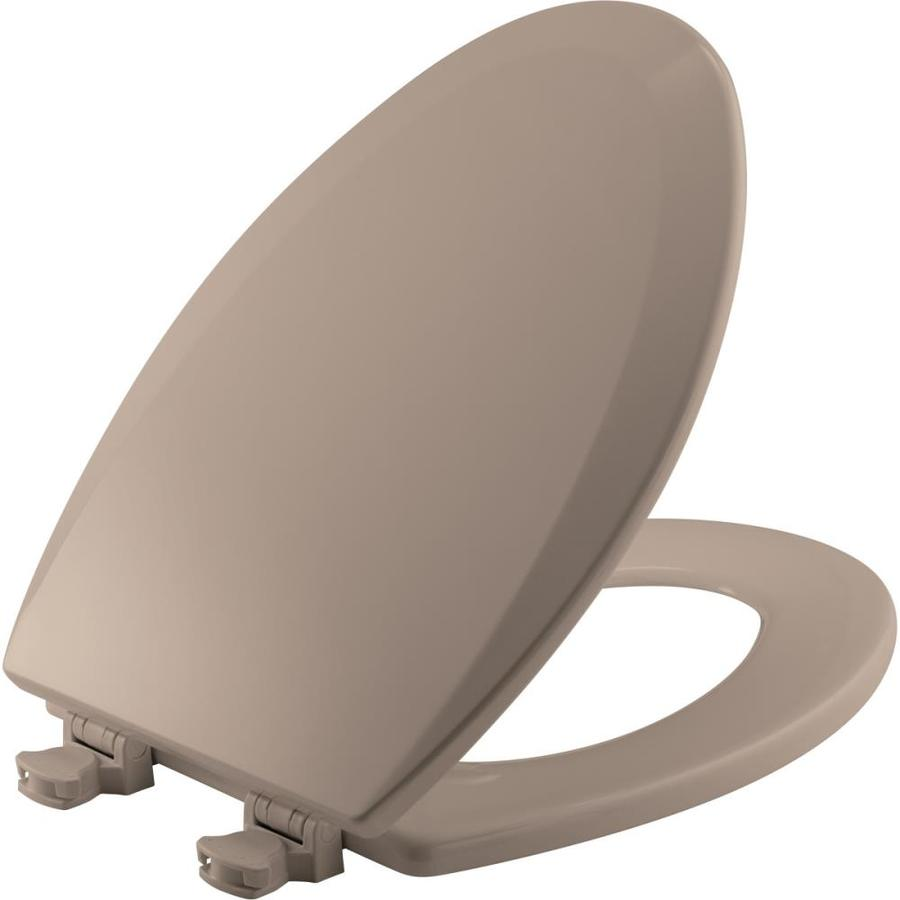 Bemis Lift-Off Fawn Beige Wood Elongated Toilet Seat