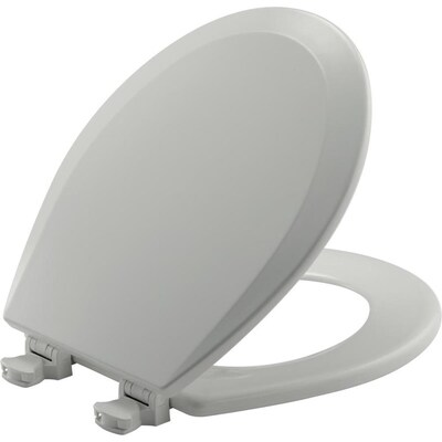 Church Lift Off Ice Grey Wood Round Toilet Seat At Lowes Com
