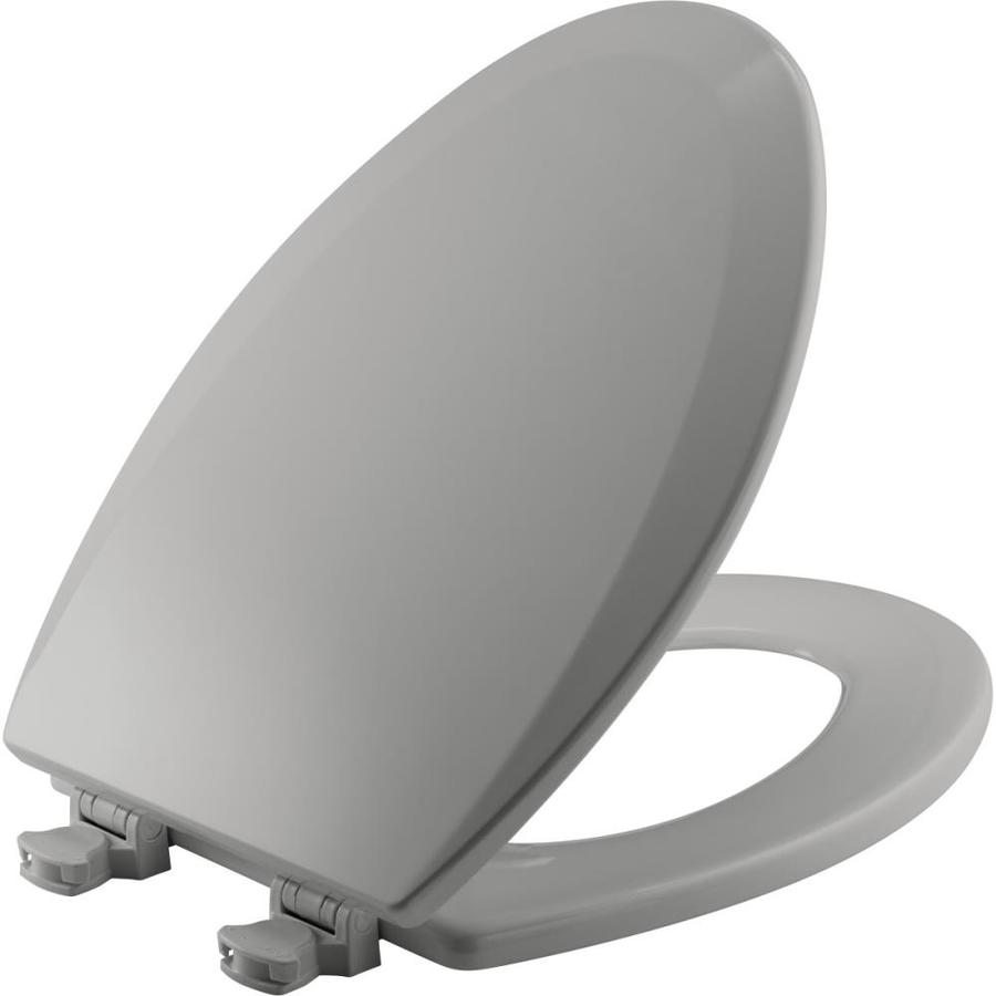 Church Lift-Off Silver Wood Elongated Toilet Seat