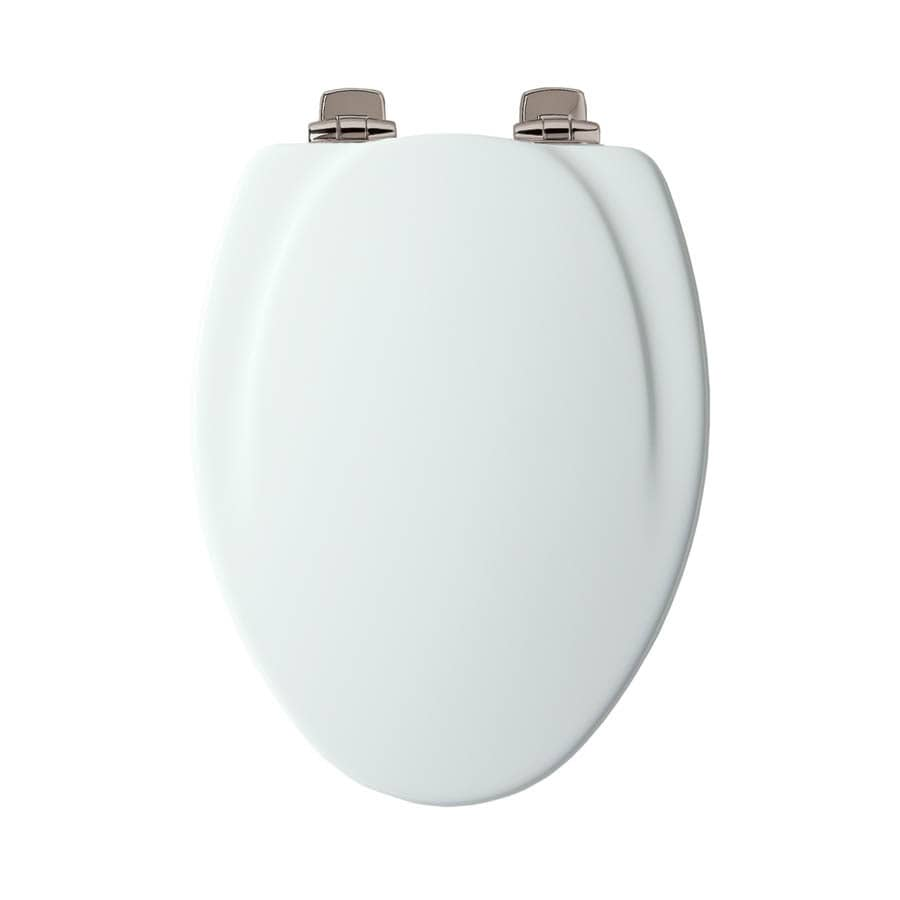 Mayfair White Wood Elongated Slow Close Toilet Seat