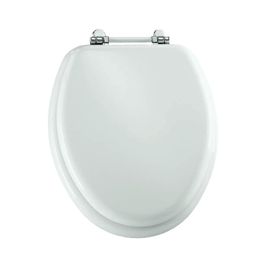 Bemis Retro Hinge White Wood Elongated Toilet Seat At