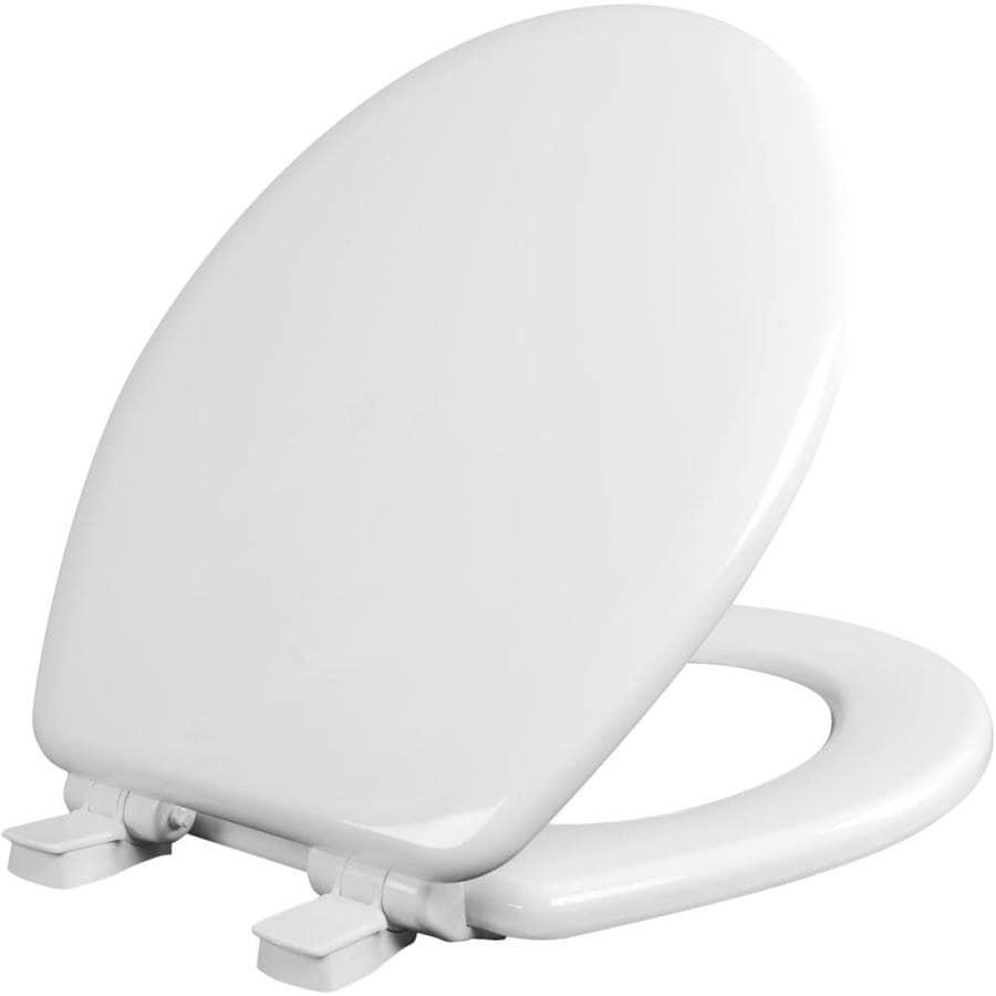 Bemis NextStep White Wood Round Slow-Close Toilet Seat