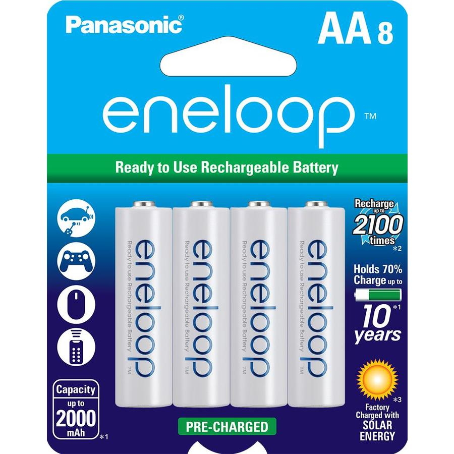 Panasonic 8-Pack AA Rechargeable Nickel Metal Hydride (NiMH) Battery