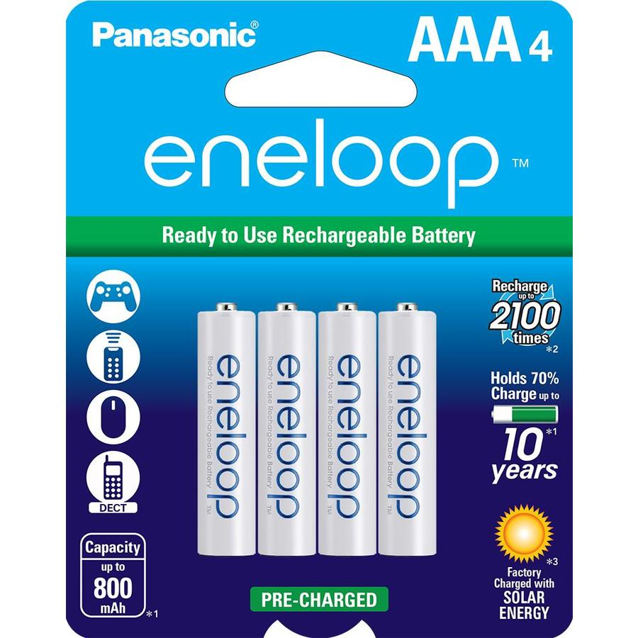 Panasonic 4-Pack AAA Rechargeable Nickel Metal Hydride (NiMH) Battery