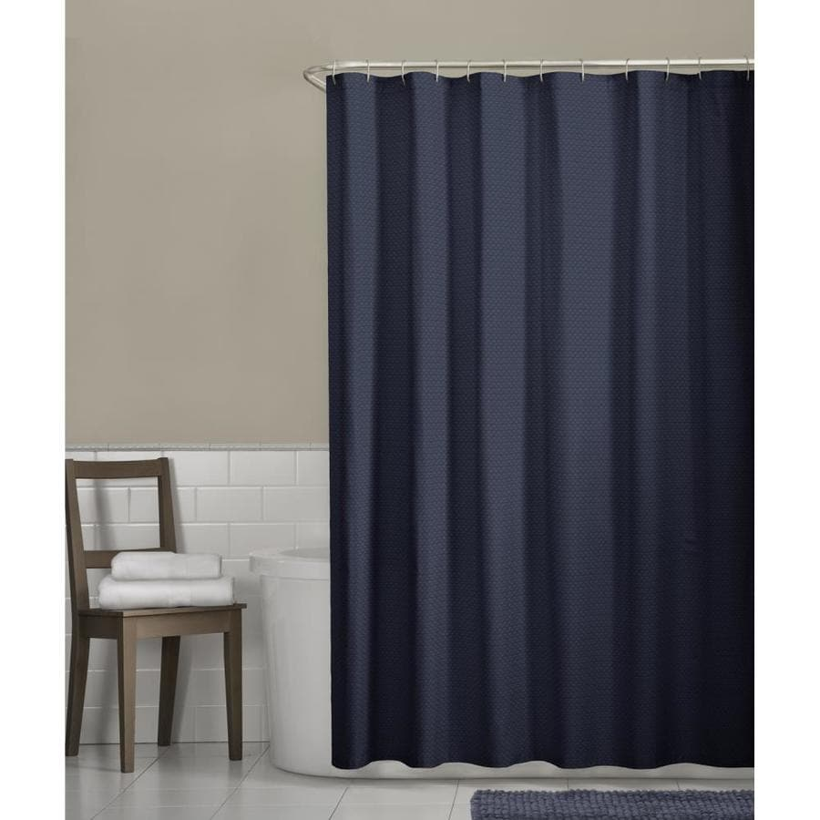 Polyester Solid Navy Shower Curtain At Lowes