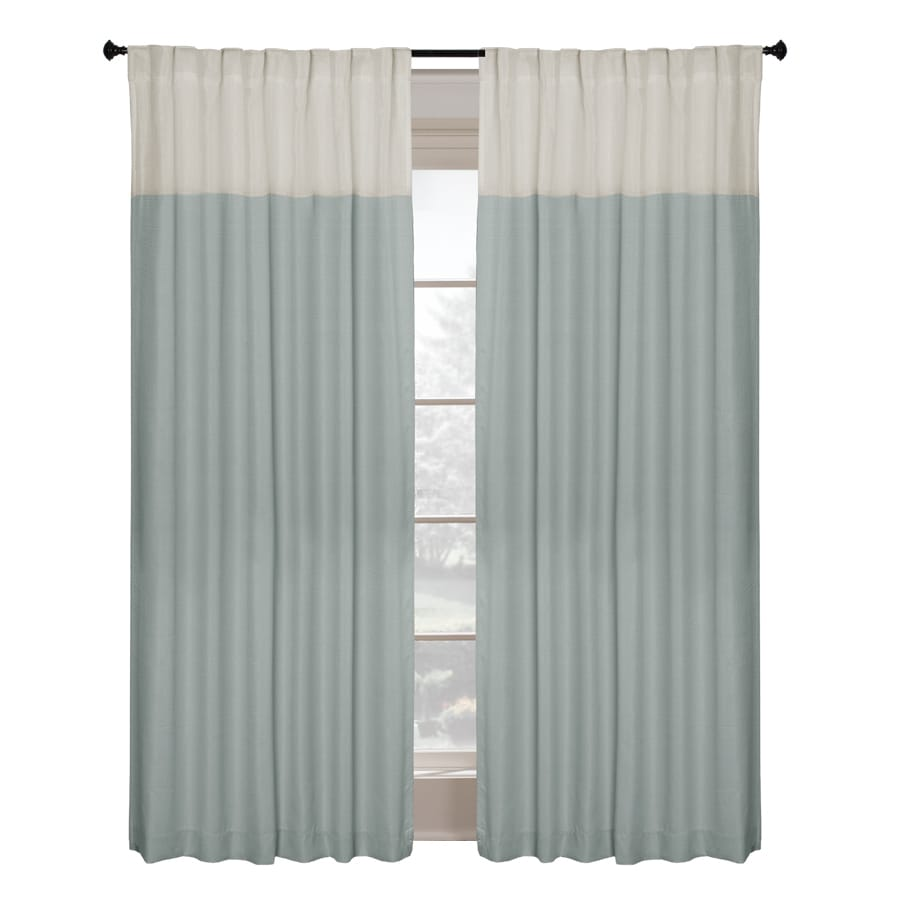 allen + roth Project Trio 84-in Blue Polyester Back Tab Single Curtain Panel