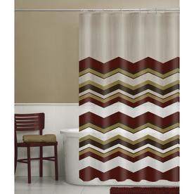 EVA PEVA Chevron Red Geometric Shower Curtain