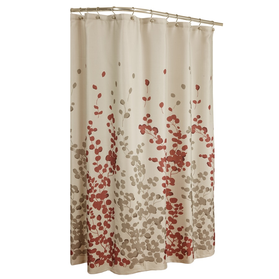 allen + roth Rosebury Polyester Print/Red Choc Floral Shower Curtain