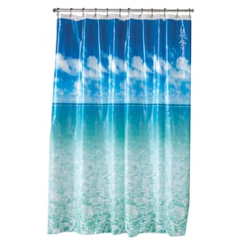 Style Selections Eva Peva Blue Pictorial Shower Curtain 70 In X 72