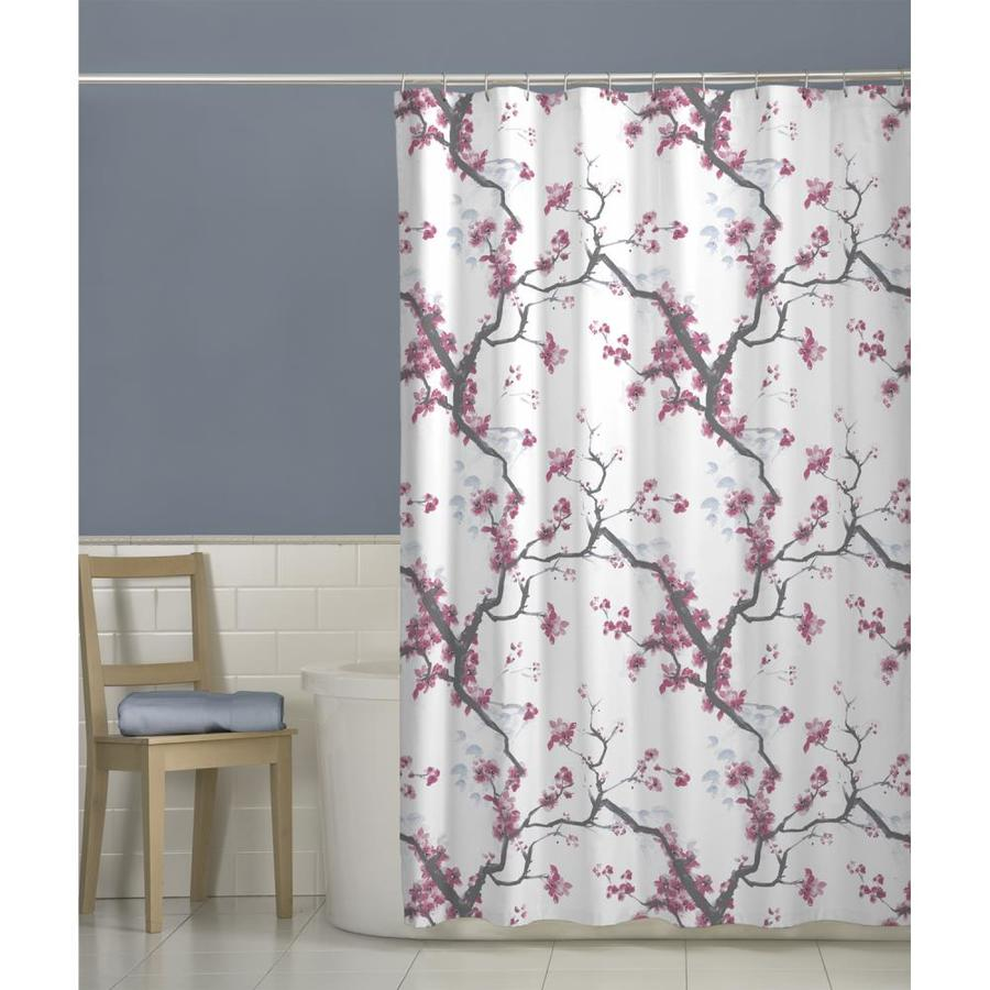 Polyester Floral Pink Shower Curtain