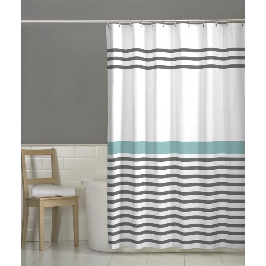Polyester Stripe Grey Striped Shower Curtain