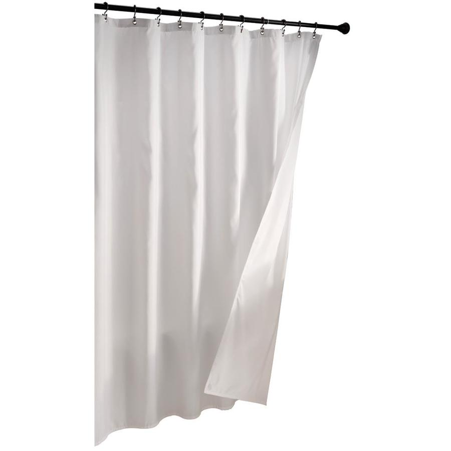 Hookless fabric shower curtain with built in liner taupe diamond pique - Allen Roth Polyester Solid Shower Liner