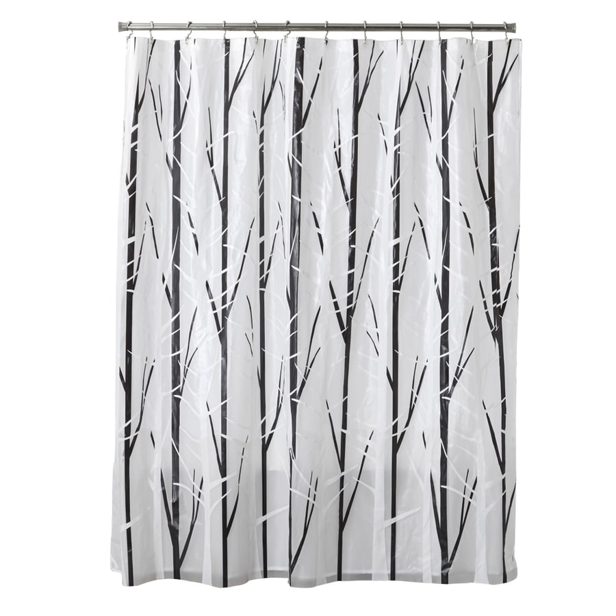 Shop Style Selections EVA PEVA Black White Patterned Shower Curtain At