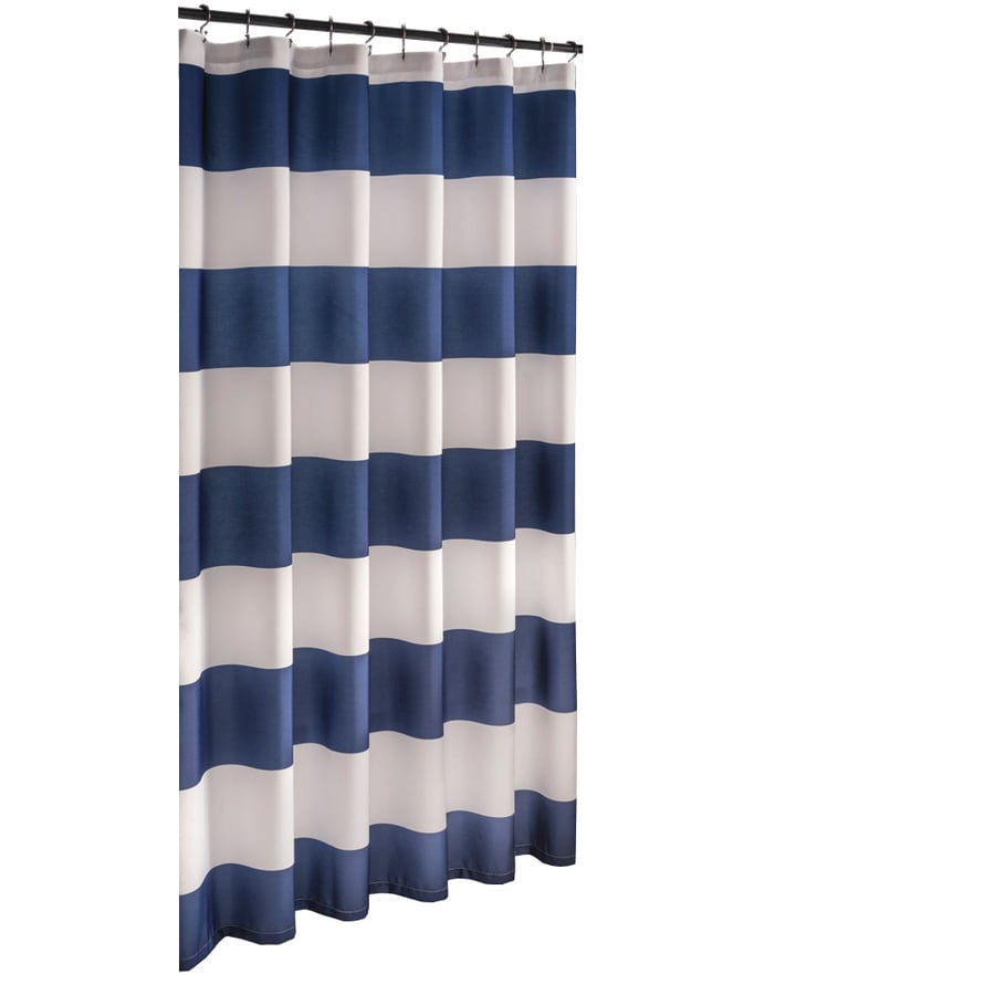 Shop Allen Roth Polyester Navy Striped Shower Curtain At