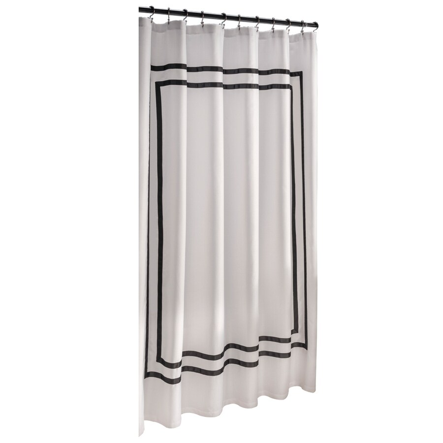 Shop Allen Roth Polyester White Solid Shower Curtain At