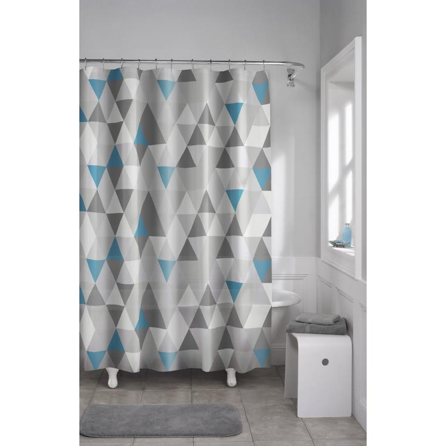 EVA PEVA Geometric Grey Shower Curtain At Lowes