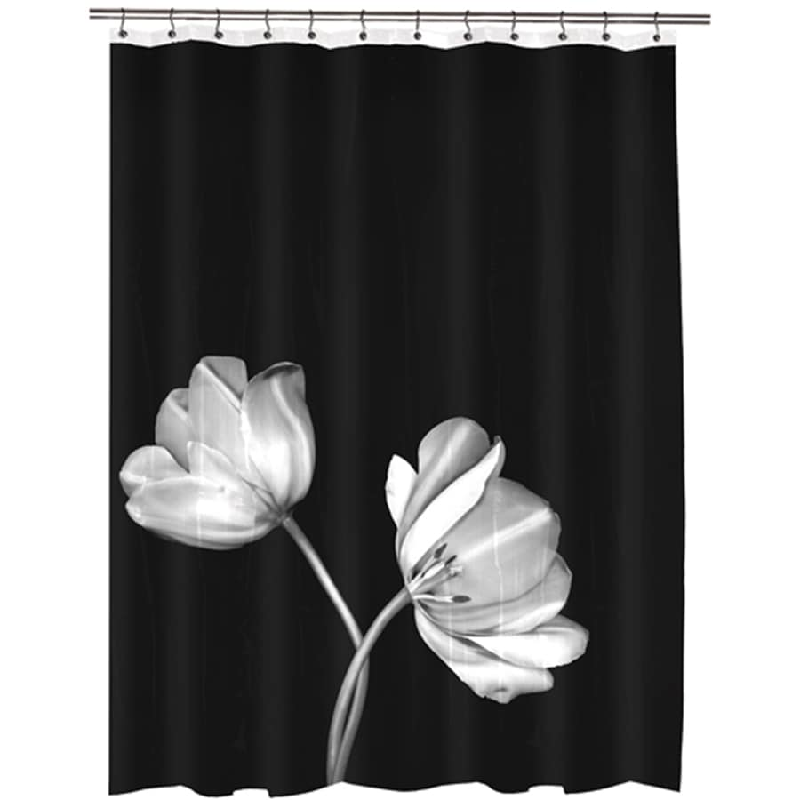 Tulip Eva Peva Photo Black Floral Shower Curtain 70 In X 72
