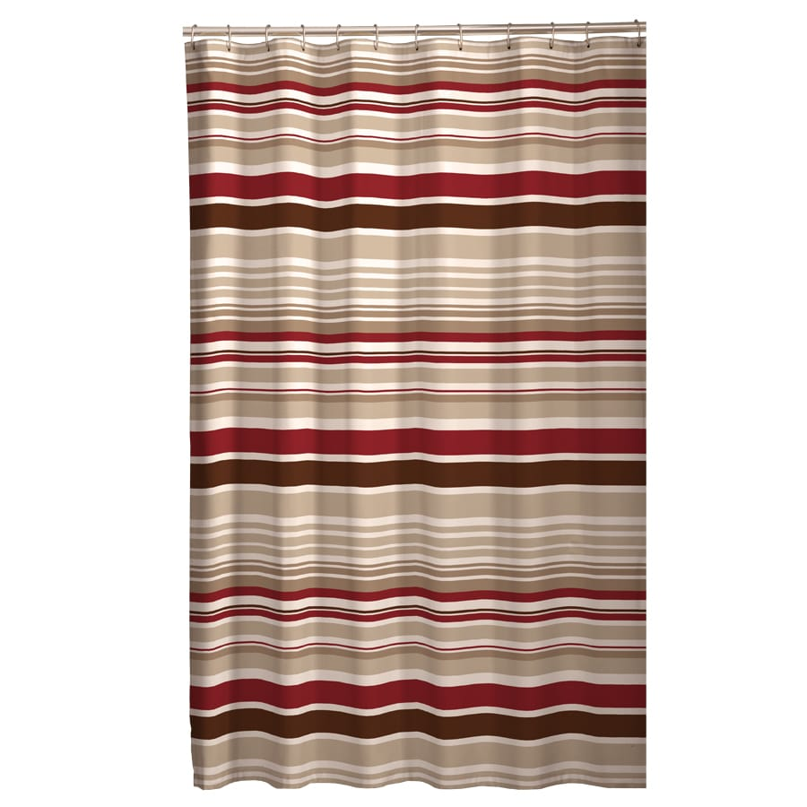 Meridian Polyester Stripedd Red Brown Shower Curtain 70 In X 72 At Lowes