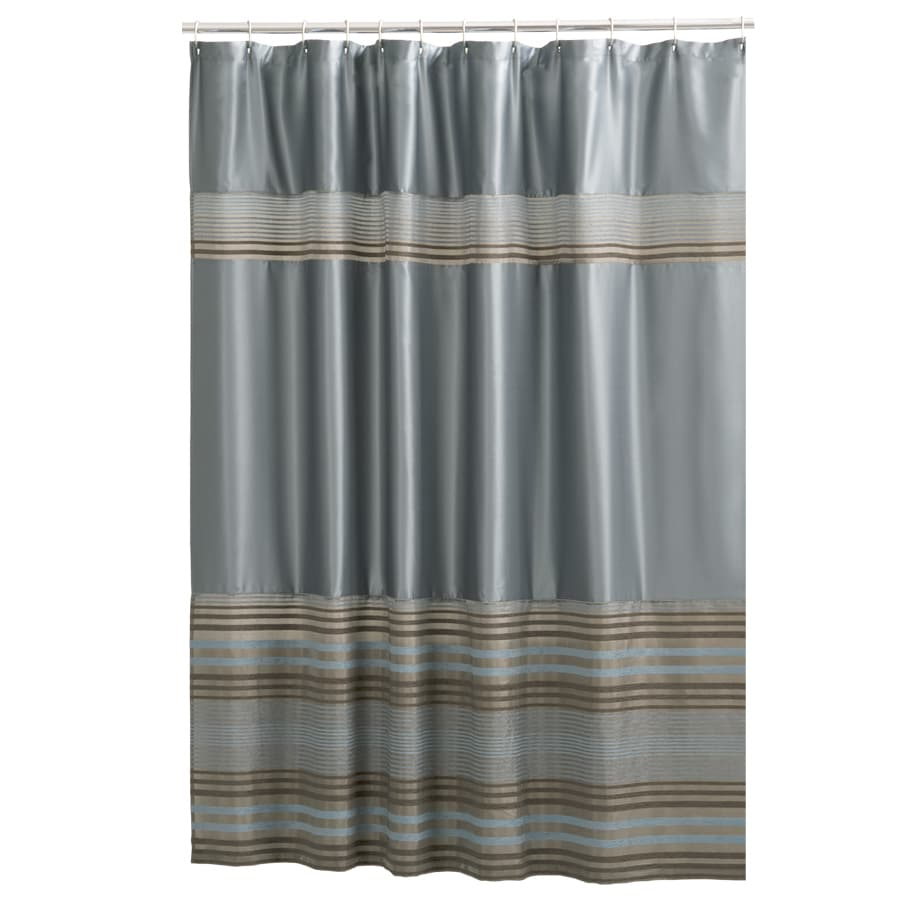Mark Polyester Stripe Blue Striped Shower Curtain