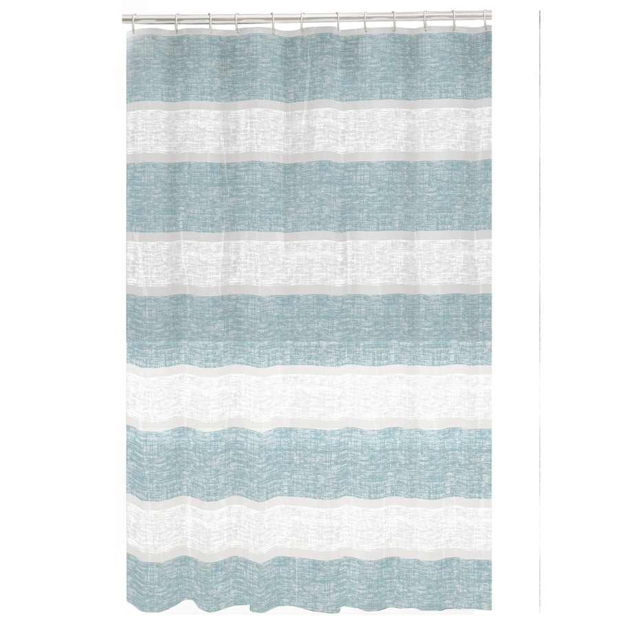 Style Selections EVA/PEVA Print Blue Striped Shower Curtain