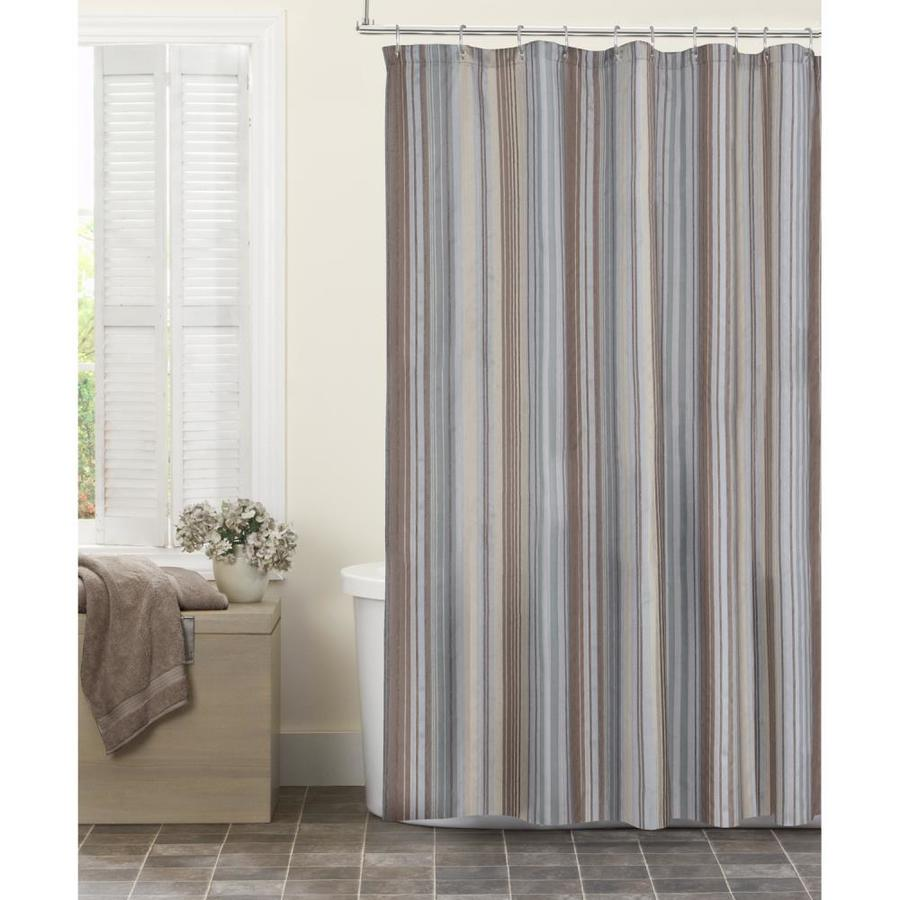 Shop Polyester Stripe/natural Striped Shower curtain at Lowes.com