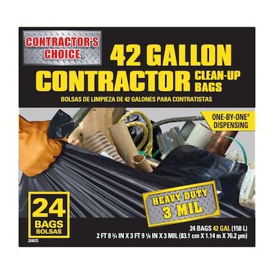 Contractor 24 Pack 42 Gallon Black Outdoor Plastic Construction Trash Bag