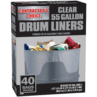 Contractor 40 Pack 55 Gallon Clear Outdoor Plastic Construction Trash Bag