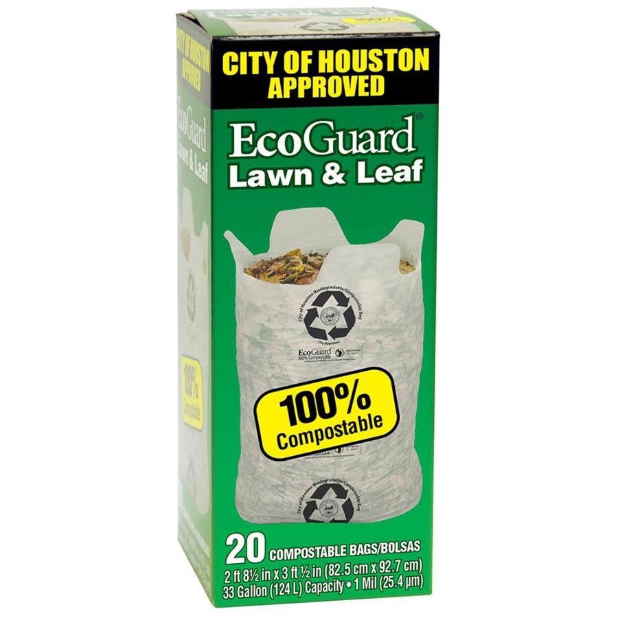 Eco Guard 20 Count 33 Gallon Brown Outdoor Recycling Plastic Trash Bag