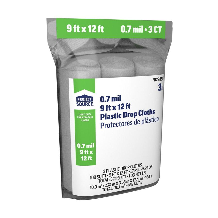 3-Pack Plastic Drop Cloths (Common: 9-ft x 12-ft; Actual 9-ft x 12-ft)