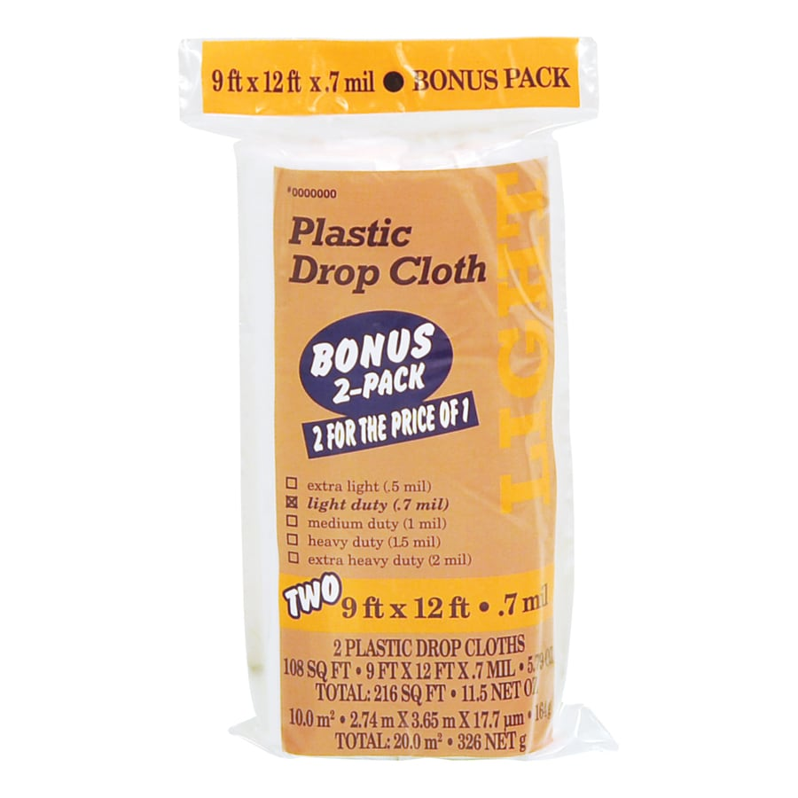 2-Pack Plastic Drop Cloths (Common: 9-ft x 12-ft; Actual 9-ft x 12-ft)