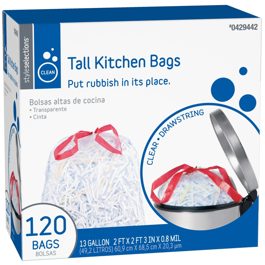 Style Selections 120-Count 13-Gallon Kitchen Trash Bags