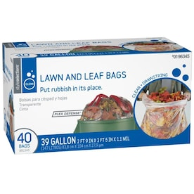 Style Selections 40-Pack 39-Gallon Clear Outdoor Plastic Lawn and Leaf Trash Bag