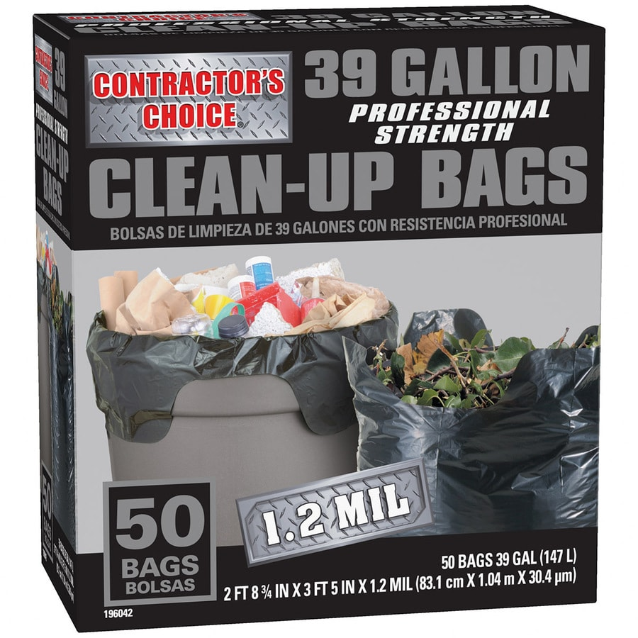 Contractor S Choice 50 Count 39 Gallon Black Outdoor Construction Plastic Trash Bag