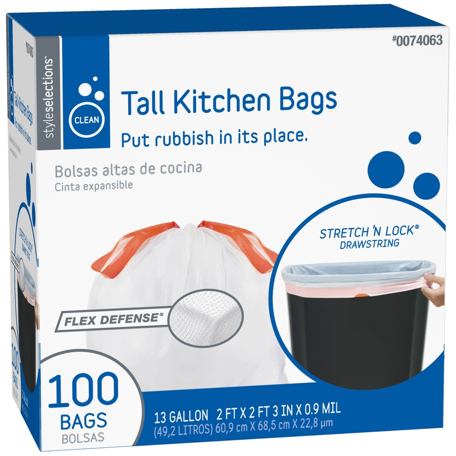 Style Selections 100-Count 13-Gallon Kitchen Trash Bags