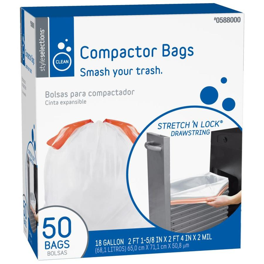 Style Selections 50 Count 18 Gallon White Plastic Trash Bags