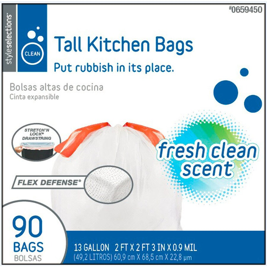 Style Selections 90-Count 13-Gallon Fresh Clean Kitchen Trash Bags