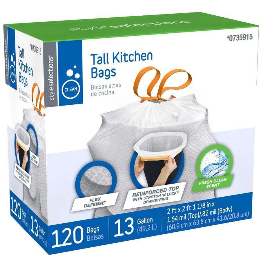 Style Selections 120-Count 13-Gallon Fresh Clean White Indoor Kitchen Trash Bags